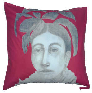 Pink Native Woman Cotton Pillow